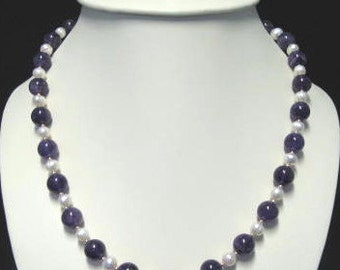Amethyst and fresh water pearl set