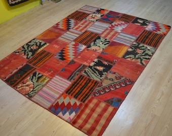 Vintage kilim rug. Patchwork kilims. Turkish kilim rug. Turkish patchwork rug. Free shipping. 7.7 x 5.7 feet.