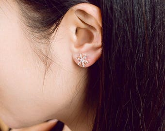 925 sterling silver, CZ earring, everyday silver earring, daily earring, snow flake earring, rose gold earring, dainty earring, stud earring