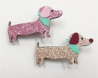 dachshund hair clip, toddler girl hair accessories, Easter basket filler, glitter hair clips for girls, alligator hair clips, puppy hair