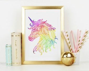 Boho Unicorn Wall Art 8x10, Boho Artwork, Unicorn Artwork, Rainbow Artwork, Rainbow Unicorn Art, Rainbow Unicorn Wall Art, Rainbow Wall art