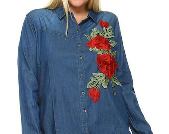 Denim top with  embroidered