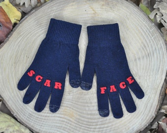 "Womens Gloves , Touchscreen Gloves , Texting Gloves , Winter Accessories , Handmade , Finger Tattoo , ""SCARFACE"" Tattoo with (Red) Font"