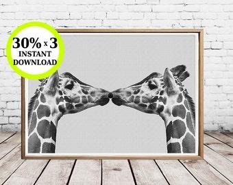 Photo safari, printable giraffe, decoration wall, animal print, digital download, African animals, giraffe print, film baby, baby