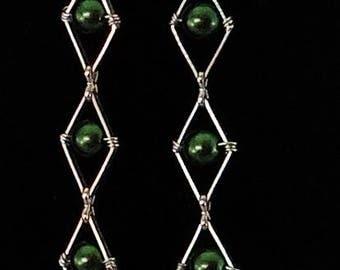Swarovski Green Pearl and Spike Dangle Crystal Earrings