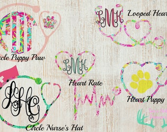 Lilly Pulitzer Inspired Stethoscope Monogram Decal, Truck Decal, Car Decal, Yeti Decal, Bottle Decal, Window Decal, Laptop, Phone Decal