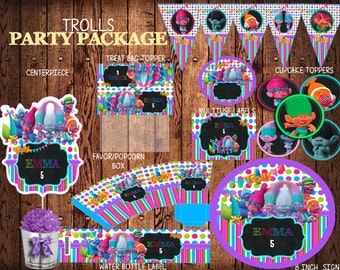 Trolls Party Package, PERSONALIZED,  Water Bottle Labels, Cupcake Toppers, Treat Bag Topper,  Trolls Party  Pack