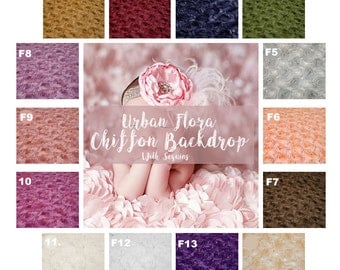 "3D Flower Newborn Photo Fabric Backdrops ""Urban Flora"" Newborn Backdrop Flower Chiffon Newborn Photography 2 Yards BACKDROP - Choose Color"