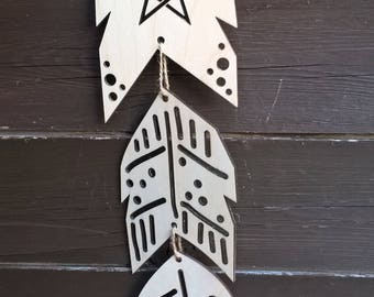 Feather Mobile / Native American / Hanging / Wooden Mobile / Birch / Hanging Wood / Woodlands / Angel / Angel Feather / Bohemian