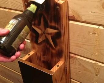 Steel Oak Home Decor Wall Mount Bottle Opener System w/Catch Basket
