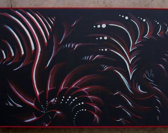 Black with a hint of Red and a splash of White Framed Acrylic Painting