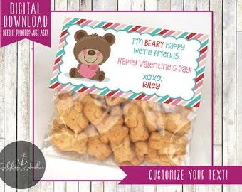 Bear, Teddy Bear, Bear Happy We're Friends Valentine's Day Bag Topper - Gift Tag - Printable DIY