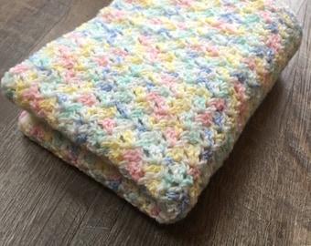 Blue, Yellow, Pink, Green Baby Blanket - Crochet