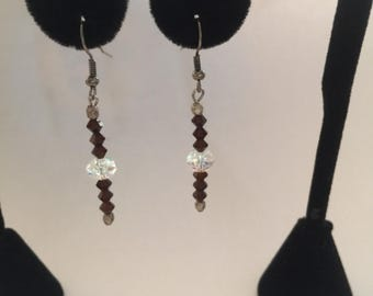 """Brown and crystal Swarvoski crystals in drop style earrings   About 1 1/2 """" long"""