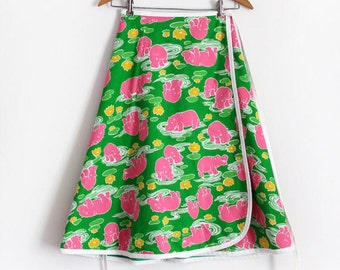 vintage 1960s novelty skirt // 60s 70s hippo novelty reversible wrap skirt