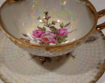 GC Japan Tea Cup and Saucer with Pink Roses Fine China #2YD327