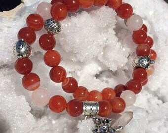 Red Agate and Rose Quartz Double Wrap Bracelet with Terrapin Highlights-Dancing Bear/wire Wrapped Clear Quartz Terminated Crystal  Dangle!