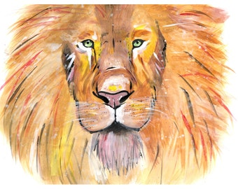 Acrylic Lion Painting, Print from Original Work
