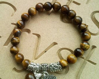 Tigers Eye and Tibetan Silver Bead Braclet Tree Of Life Charm Elasticated
