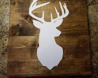 Deer silhouette wood sign