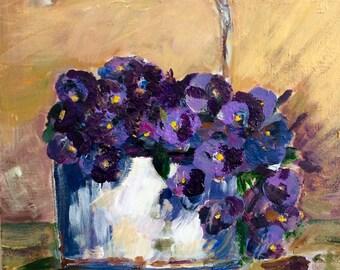 Art, Violets, Original painting, Gift, Protective laqueur