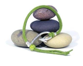 Green suede bracelet, Beach style bracelet, Bracelet hook clasp, Suede bracelet with ceramic bead, Wristwear, Summer bracelet gift, Gifts