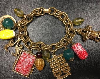 Vintage Brass Oriental Charm Bracelet