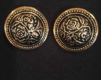 Clip On Gold Large Round Earrings with Floral Design