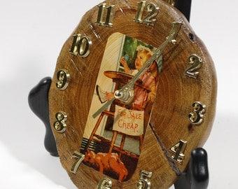 Natural Wood Desk Clock, Reclaimed Wood Clock