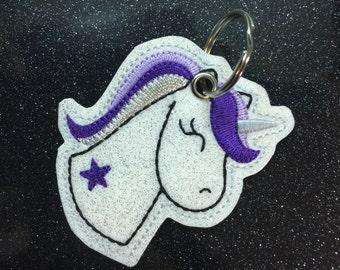 Super cute Unicorn as glitter vinyl / leatherette keychain
