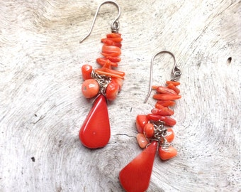 Red stacked coral branch silver cluster dangle drop earrings