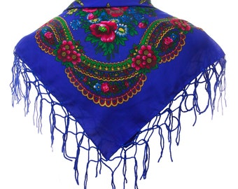 BLUE folk SCARF shawl royal blue with flowers and fringes POLAND scarves fashion colors