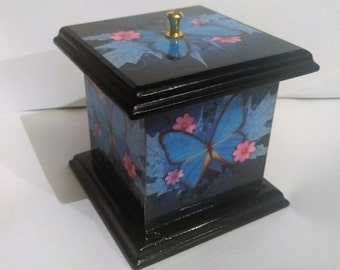 Black and Blue Butterfly Trinket Box