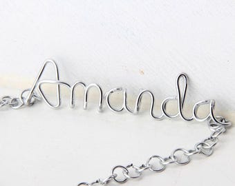 Sterling Silver Wire Name Necklace, Custom Name Necklace, Personalized Name Necklace, Bridesmaid Necklace, Personalized Name Jewelry Gifts