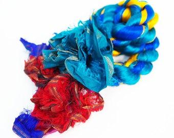 45g Blue Sari Silk Trums, Silk Fibre, Wet Felting, Nuno Felting, Spinning, Felting Supplies
