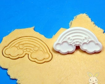 Cute Rainbow Cookie Cutter and Stamp Set