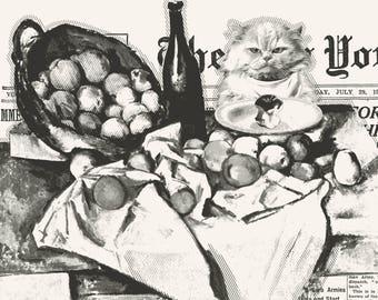 Cat print, Newspaper print, Cezanne print, Apple print, Kitchen poster, Kitchen print,  Art prints black and white, Newspaper art, Digital