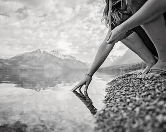 Glacier National Park water reflection photo print wall art fine art black and white free shipping