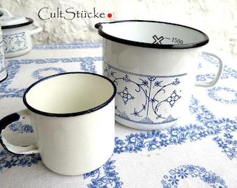 Vintage enamel beaker + Cup Indian blue