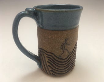 Large Wheel Thrown Mug: Hiker