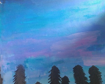 Night Sky Trees Painting-- Paper
