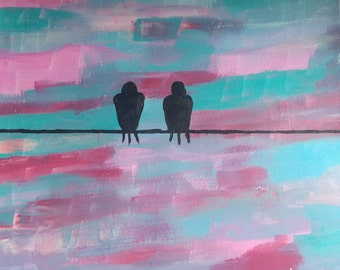 Love Birds Painting-- on Paper-- CUSTOM COLORS