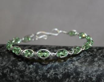 Clara Sterling Silver Peridot Swarovski Crystal Bracelet