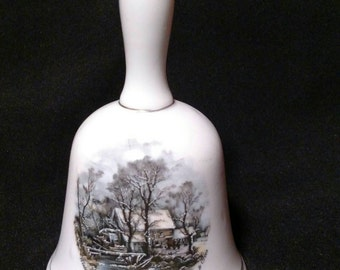 Vintage Currier and Ives Porcelain Bell Winter in the Country, The Old Grist Mill 1970s Collectible