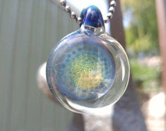 Mini implosion pendant with 24k gold and fine silver