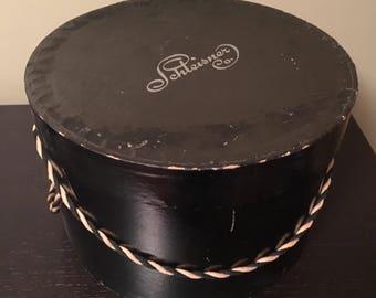 Vintage, black, round hat box, Schleisner Co.