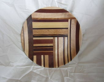 Wooden Plate of mixed hardwoods