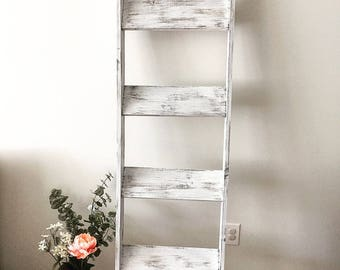 White Distressed Wood Blanket Ladder | Towel Hanger | Farmhouse Decor Piece - ON SALE
