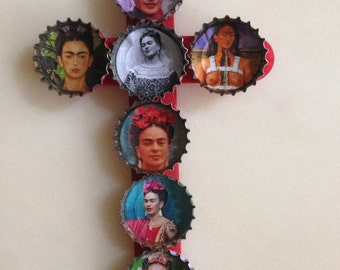 Frida Kahlo DIY recycling red wooden cross