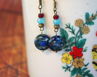 Natural Stone Blue Circle Earrings / Handmade by Rachel Smith Studio